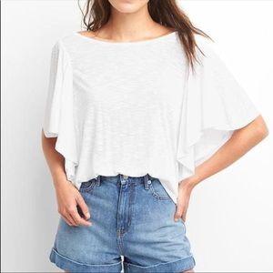 Gap white flutter sleeve blouse